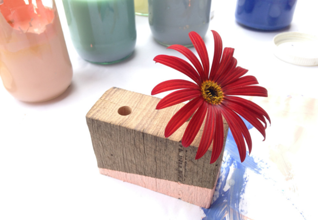 hand made wooden flower pot